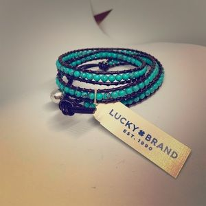 Lucky Brand turquoise & leather wrap bracelet NWT